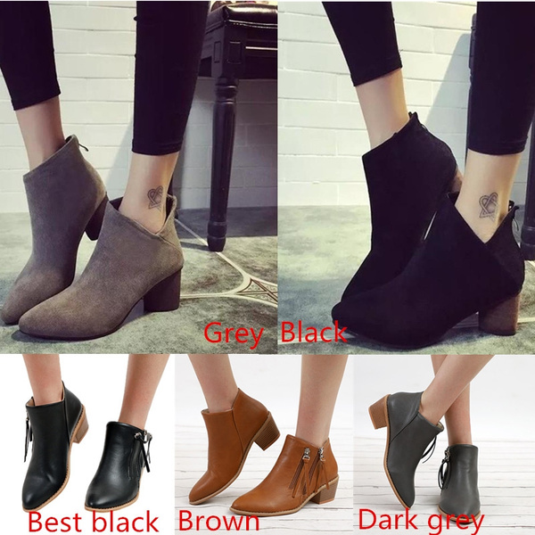 Picture of Spring Winter Elegant Female Suede Martin Boots Fashion Girl Favourite Sexy High Heel Nude Shoe Black Grey