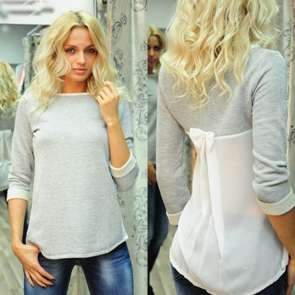 Picture of Fashion Women Lady Loose Chiffon Cotton Tops Long Sleeve Shirt Casual Blouse