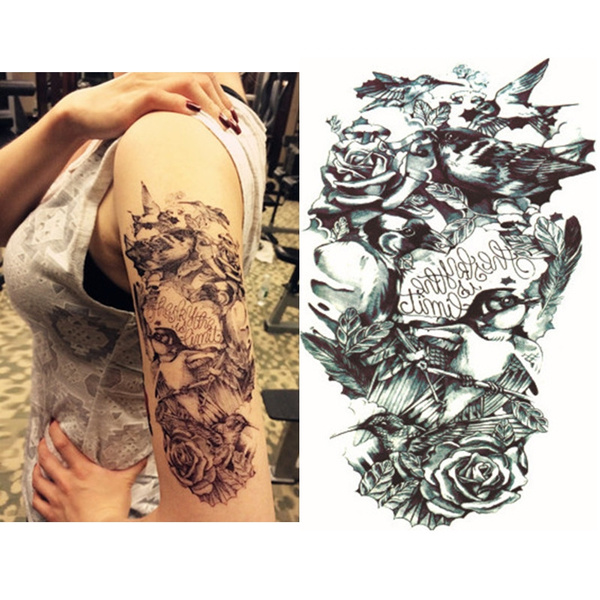 53c9bbf020b21 3D Bird Rose Flower Shoulder Arm Leg Body Art Temporary Tattoo ...
