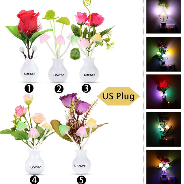 Picture of New Arrival Fashion Design Color Change Light Sensor Energy Saving Flower Plant Potted Bed Decor Night Lamp Home Illumination Us/eu Plug