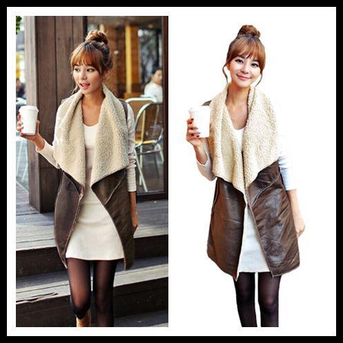 Women's Clothing Winter Fashion Fleece Long Vest Female Waistcoat Women Vest Coat Suede Faux Fur Vest Lapel Sleeveless Jacket Outerwear Coffee Jackets & Coats