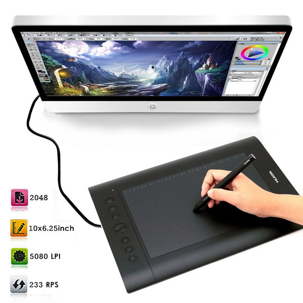 Picture of Huion H610-pro 10ampampampquotx6.25ampampampquot Usb Art Graphics Drawing Tablet Pad Cordless Pen Hotkey Color Black