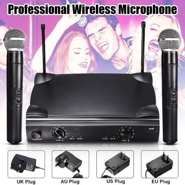 Picture of Au Warehouse Us/eu/uk/au Plug Dual Professional Wireless Microphone System Cordless Handheld Mic Kareoke Ktv Party Accessories Dj Equipment