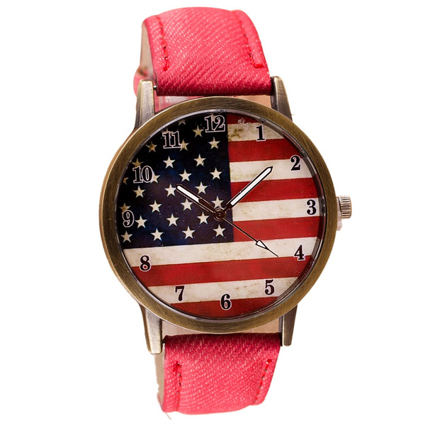 Unisex Watches Casual American Flag Pattern Dial Quartz Wrist Watches