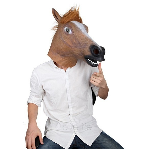wish hot creepy horse mask head halloween costume theater prop novelty latex rubber l_l color brown