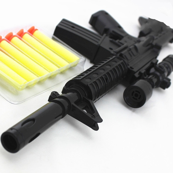 Wish | M4A1 (army green)assault rifle plastic nerf guns toy + 6 EVA Foam  bullets Imitation for kids Safe sniper rifle toy Submachine gun