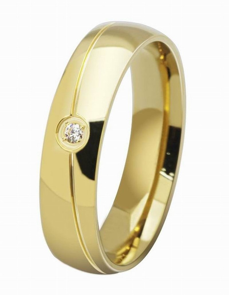 Picture of New Stylish 18k Gold Plain Classic Crystal Drill Titanium Steel Lover's Rings Unique Couple Jewelry Womens And Mens