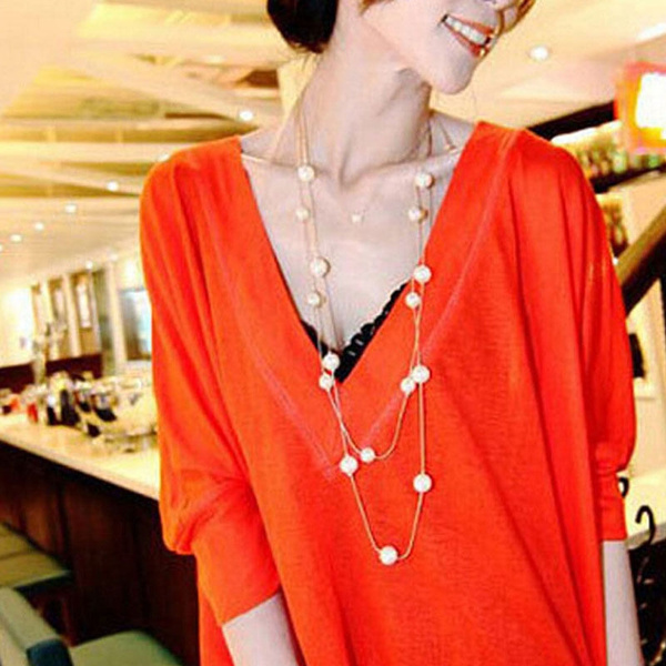 Picture of Stylish Women Girl Multilayer Long Pearl Necklace Pendant Sweater Chain Jewelry