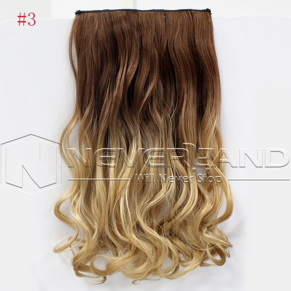 Wish 24one Piece 6 Colors Dip Dye Clip In Ombre Curly Wavy Hair