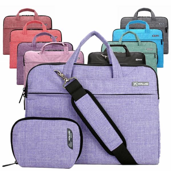 Picture of 13'' 14 Cotton Fabric Laptop Sleeve Carry Case Bag With Small Bagshoulder Belt