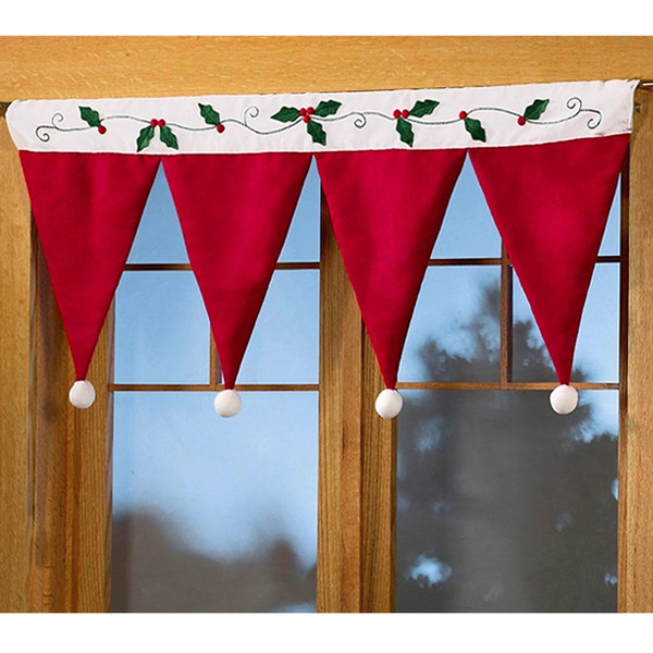 wish christmas santa hat window valance christmas curtains hang ornament christmas decoration living room home indoor offices hotel school dormitory