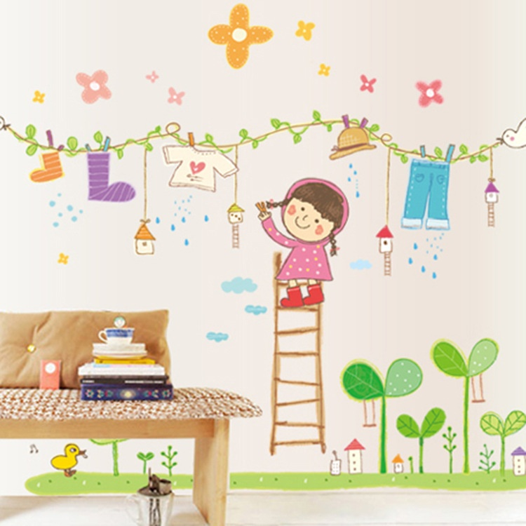 Laundry girls room wall sticker vinyl mural decor mural decals removable ebay - Decor mural original ...