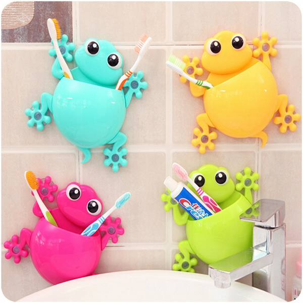 Picture of 1pc Animal Frog Silicone Toothbrush Holder Family Set Wall Bathroom Hanger Suction