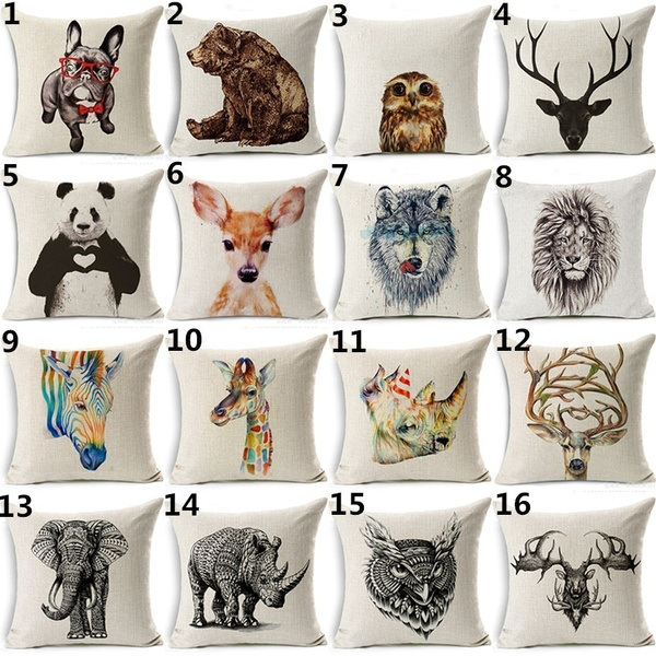 Picture of Lovely Animal Pattern Pillowcase Cotton Linen Cushion Cover Sofa Waist Pillow Home Decor