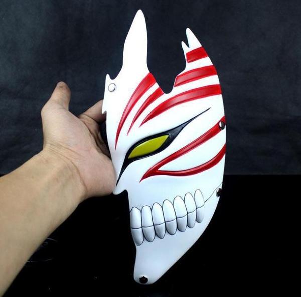 395 Virtual Cosplay halloween party mask Collection Handmade Ghost Half  face cosplay theme of Kurosaki Ichigo costume ball mask