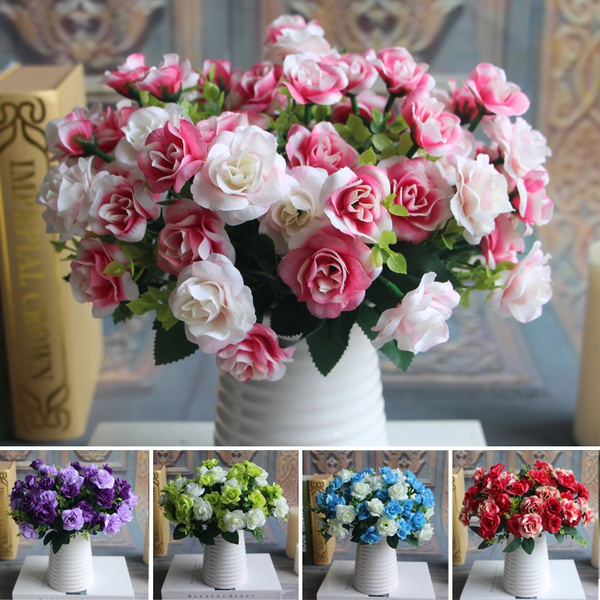 Picture of 15 Heads Silk Flowers Bouquet Artificial Rose Wedding Floral Decor Plant