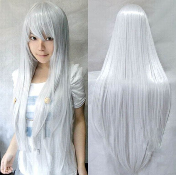 020c20f88 Women's Fashion Wig Silver White Wigs Cosplay Long Straight Hair ...