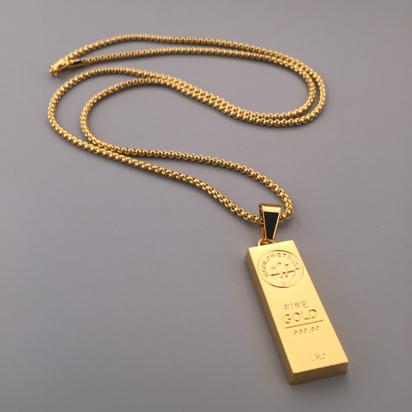 Wish new mens fashion 18k gold plated gold bar bullion pendant wish new mens fashion 18k gold plated gold bar bullion pendant necklace iced out box chain gift mozeypictures Gallery