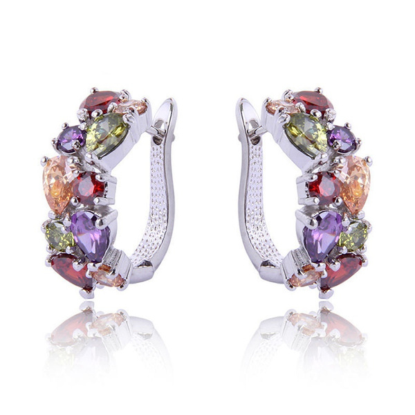 Picture of Jewelry Colorful Amethyst Ruby Women's 925 Sterling Silver Hoop Earrings Color Multicolor