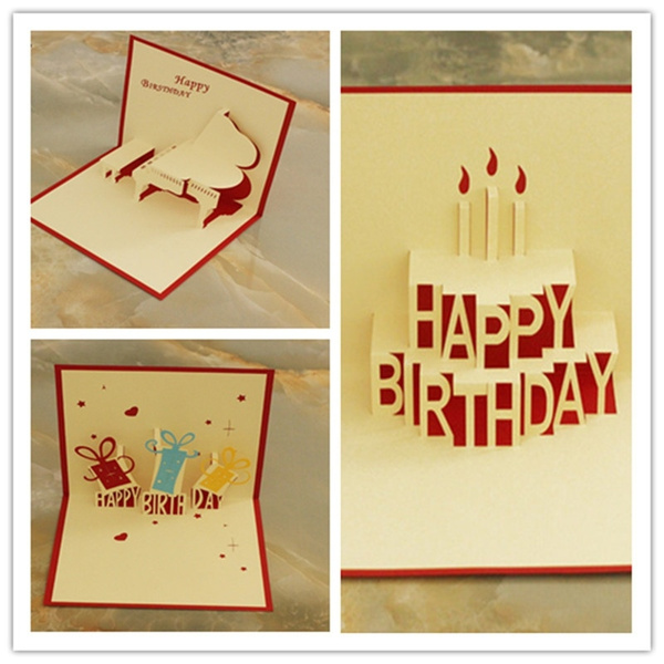 Picture of Birthday Theme Handmade Birthday Greetings Cards Kirigami 3d Pop Up Cards
