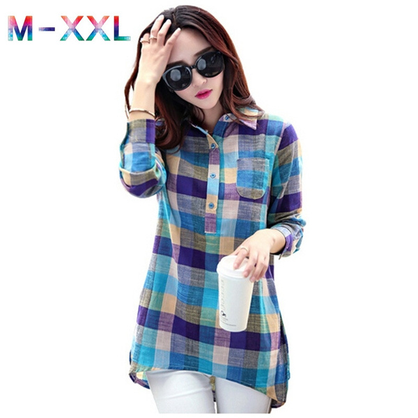 Picture of Plaid Shirt Women Autumn Korean Style Fashion Collar Blouses