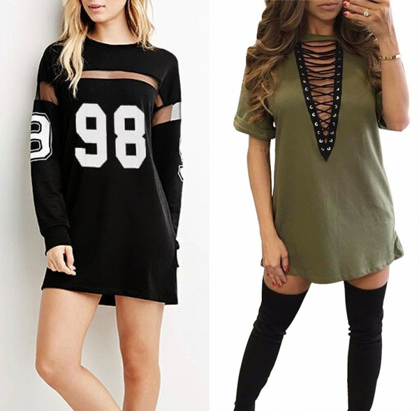a619466e18b4 Hot Women Fashion Baseball Long Shirts Dresses Jersey Casual ...