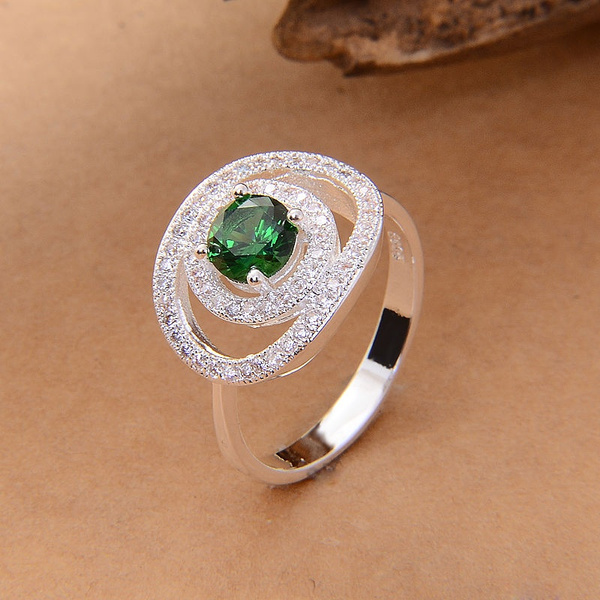 Picture of 925 Sterling Silver Emerald Topaz Dicyclic Love Wedding Ring