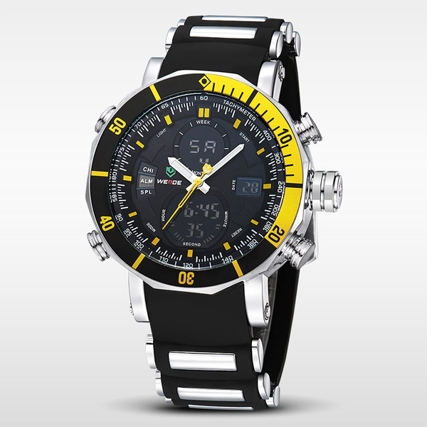Picture of Men Luxury Fashion Double Time Alarm Chrono Waterproof Rubber Strap Sport Watch