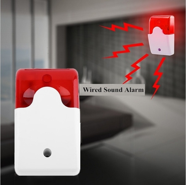 Picture of Durable 12v Wired Sound Alarm Strobe Flashing Light Siren Home Security Vl9 Color Red White