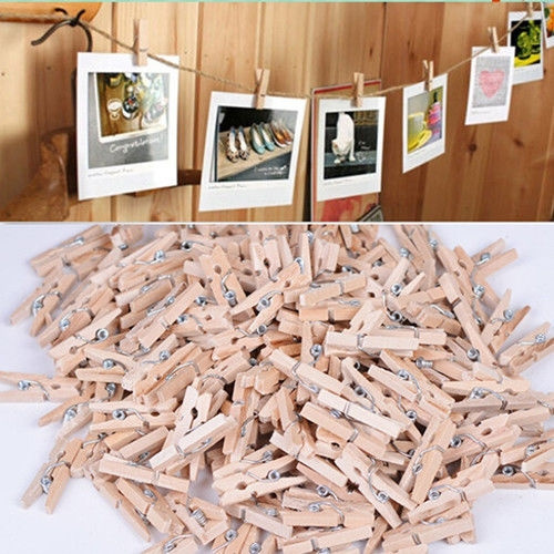 Picture of 50pcs Mini 35mm Natural Wooden Clothes Photo Paper Peg Clothespin Craft Clips