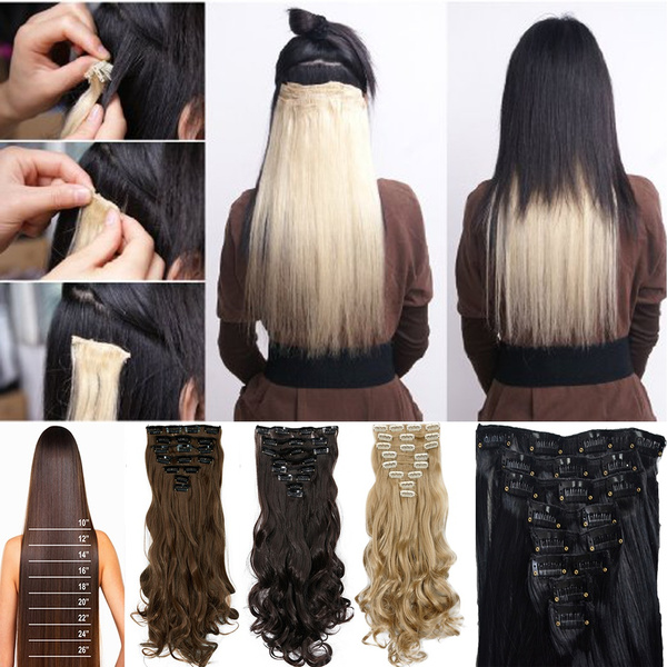 Geek Real Thick Womens Girls 18 Clips 8 Pcs Clip In Hair Piece 24