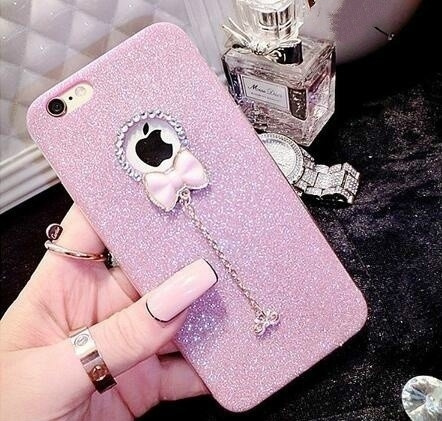 Picture of Luxury Diamonds Glitter Bow Pendant Soft Phone Case For Iphone 5 5s Se 6 6s Plus 6plus 7 7 Plus Samsung Galaxy S6 S6edge Plus S7 S7edge A310 A510 J3 J510 J710 Cases Back Cover