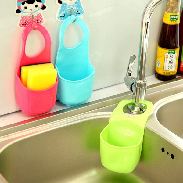 Picture of New Home Living Creative Kitchen Sink Shelving Bag Dish Cloths Rack Suction Sponge Hanging Drain Holder Faucet Multipurpose Storage Rack