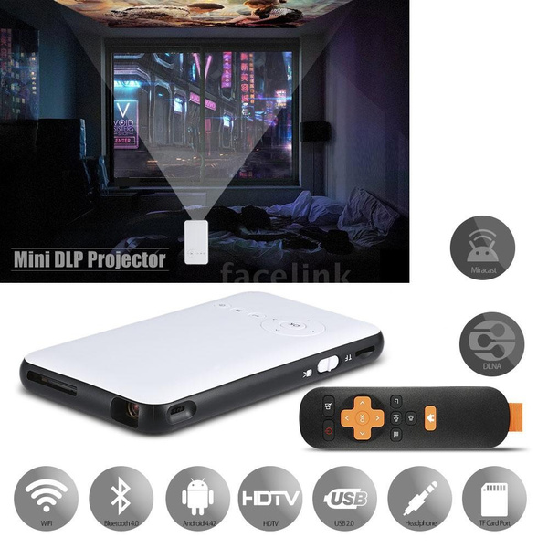 Picture of Mini Dlp Led Projector + Smart Tv Box 1g / 8gb 2 In 1 Multifunctional Projection Machine Miracast Dlna 2.4g / 5g Dual Band Wifi Bluetooth 4.0 Hdtv For Notebook Laptop Smart Phones White