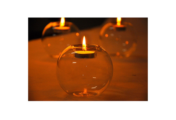 Round Hollow Crystal Glass Candle Holder Wedding Fine Candlestick Dining Room Home Decoration