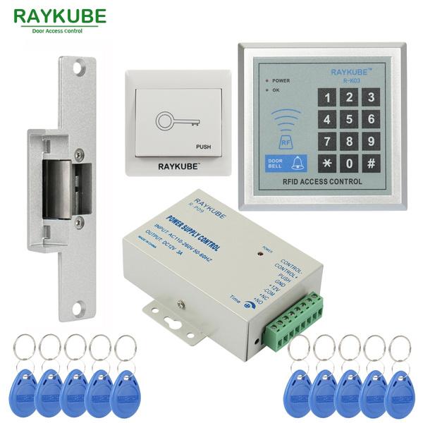 RAYKUBE Door Access Control System Kit Electric Magnetic Door Lock +125Khz  Rfid Keypad +Power +Exit Button+ID Keyfobs