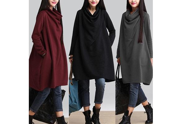 Vintage Women High Neck Pockets Casual Baggy Swing Loose Tops Shirt Dress Plus Plluover Sweatshirt