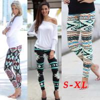 All Season Women Fashion Leggings Skinny Geometric Print Stretchy pencil Pants Leggings Yoga Pants Casual Slim Trousers