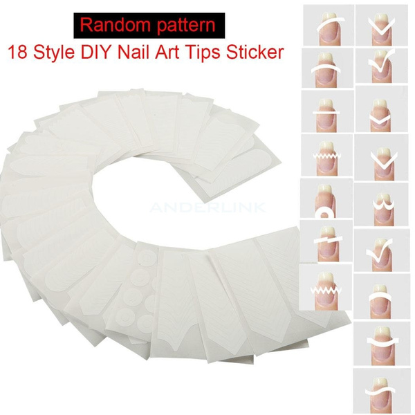 Nail Art White French Manicure Guide 18 Styles Tips Guides Manicure Stickers Stencil Beauty Tool