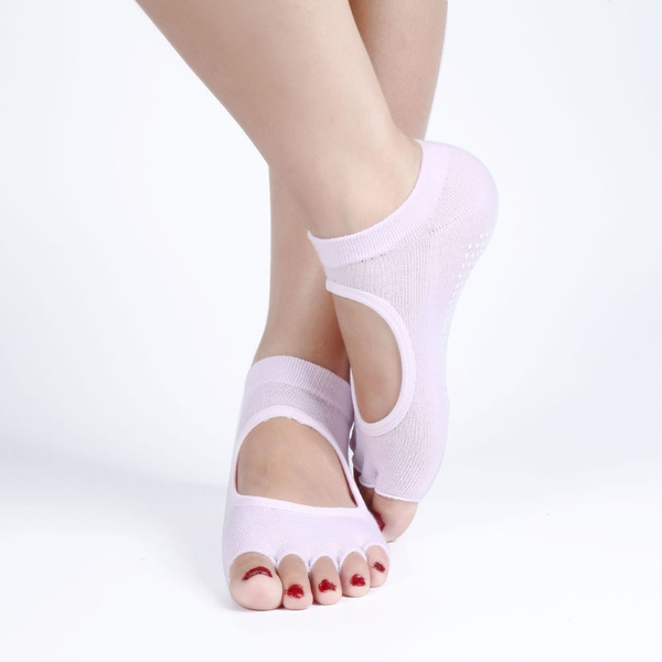 Backless Home Yoga Toe Fiver Finger Sock Non-slip Yoga Sports Cotton PVC Socks Summer Catch