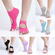 Backless Home Yoga Toe Fiver Finger Sock Non-slip Yoga Sports Cotton PVC Socks Summer Catch