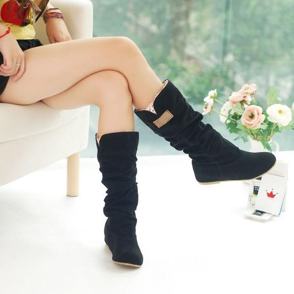 Picture of Women's Slouchy Wide Boots Hollow Hook Lace Cotton Scrubs Ladies Boots Shoes Tall Boots Winter Boots