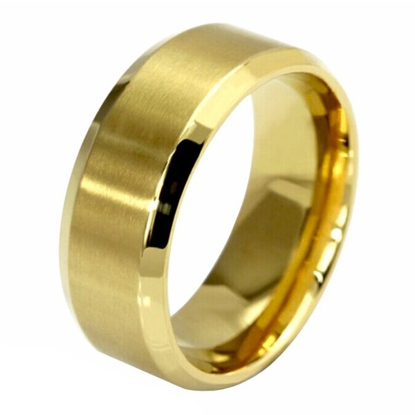 8MM Gold Stainless Steel Wedding Solid Ring for Mens Womens Size 5-14