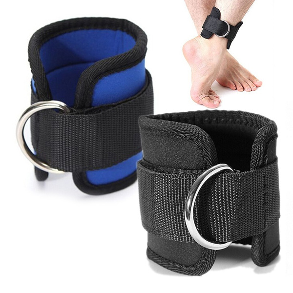 2 x Ankle Straps D-Ring Padded Adjustable Cuff Pulley Cable Machine Gym Fitness