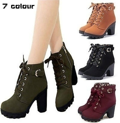 Picture of New Fashion Women Short Ankle Boots Snow Leather Boots Thick Heels Female Women Shoes