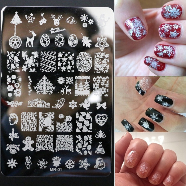 New Arrival Christmas Konad Nail Art Stamping Plates Nail Sticker Printing Template Manicure Nail Arts MR01