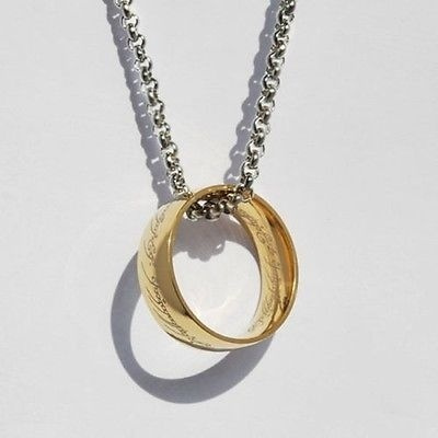1PC Lord of the Rings Stainless Steel The One Ring Bilbo's Hobbit Gold 6MM Width Ring & Chain
