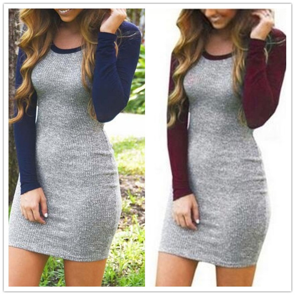 Picture of Winter Autumn Women Slim Long Sleeve Knitting Dress