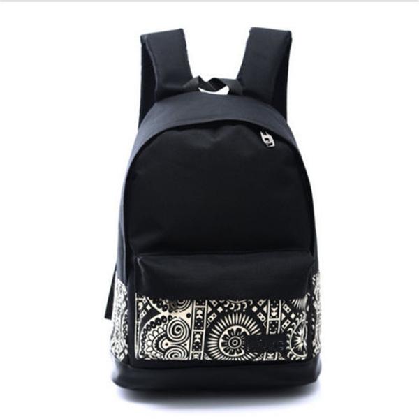 Picture of Korean Fashion Women Backpack Canvas Bags Size 42 Cm Color Black