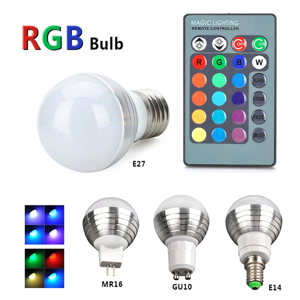 Picture of E27/e14/mr16/gu10 3w Rgb Led Light Color Changing Lamp Bulb With Remote Control